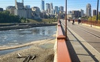 The Stone Arch Bridge and the riverfront in Minneapolis.