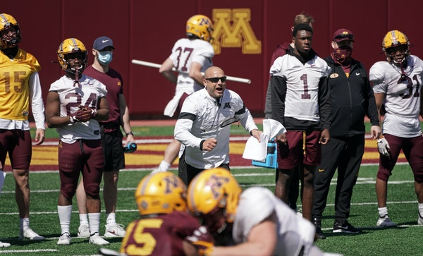 Gophers coach P.J. Fleck during spring practice
