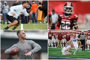 Will these players become Vikings? (Clockwise from top left): OT Christian Darrisaw of Virginia Tech, DB Jalen Johnson of Indiana, K Evan McPherson of