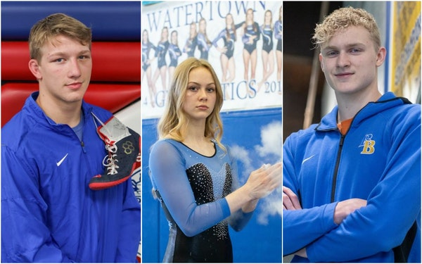 Bennett Tabor of Simley, Anna Mielke of Watertown-Mayer and Charlie Crosby of Breck School,