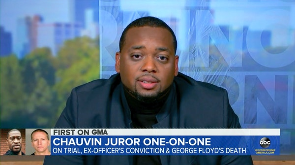 In this image from video, juror Brandon Mitchell shared his experiences Wednesday of being on the Derek Chauvin jury.
