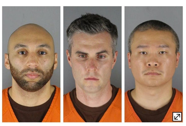 From left, former Minneapolis police officers J. Alexander Kueng, Thomas Lane and Tou Thao.