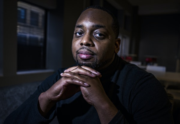 On Wednesday April 28, 2021 in downtown Minneapolis  MN, Brandon Mitchell, a juror in the Derek Chauvin trial for the death of George Floyd, speaks ou