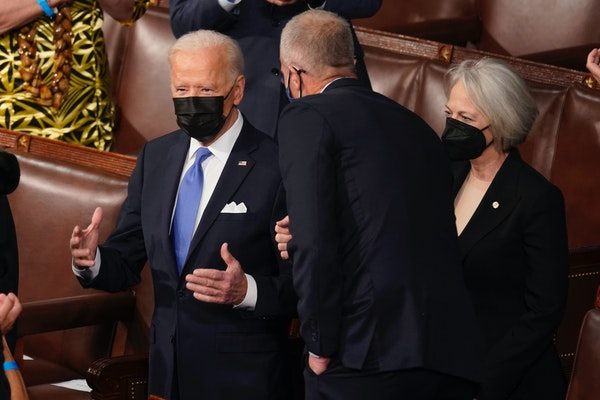 President Joe Biden arrived to speak to a joint session of Congress on Wednesday night.