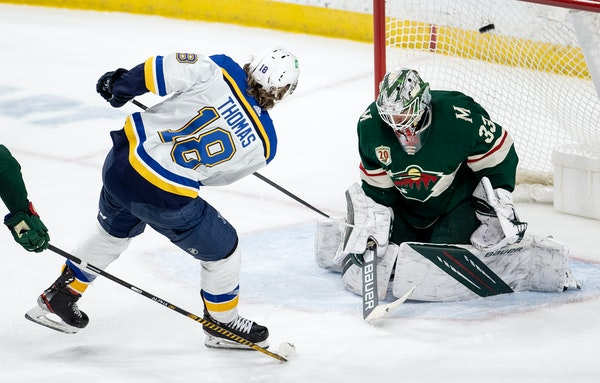 The Blues' Robert Thomas beat Wild goalie Cam Talbot for the go-ahead goal with 23 seconds left in regulation in St. Louis' 4-3 victory at Xcel En