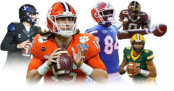 From left, BYU quarterback Zach Wilson, Clemson quarterback Trevor Lawrence, Florida tight end Kyle Pitts, Gophers wide receiver Rashod Bateman and No