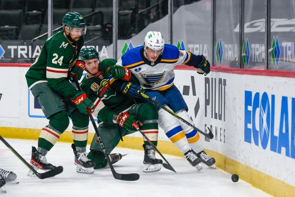 The Blues scored three goals in the third period en route to a 4-3 comeback win over the Wild on Wednesday at Xcel Energy Center.