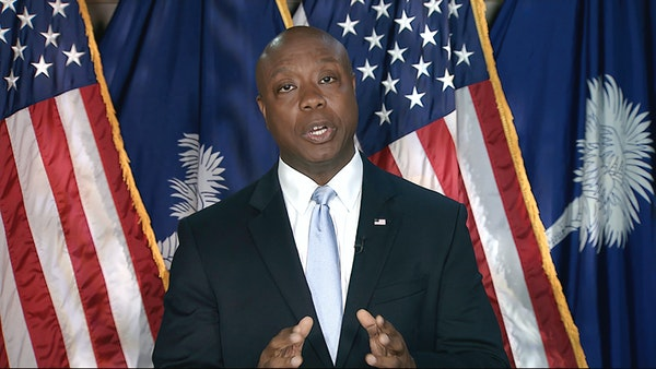 In this image from video, Sen. Tim Scott, R-S.C., delivers the Republican response to President Joe Biden's speech to a joint session of Congress on