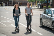 Scooter riders in Minneapolis in 2018, the year they debuted in the city.  GLEN STUBBE • glen.stubbe@startribune.com