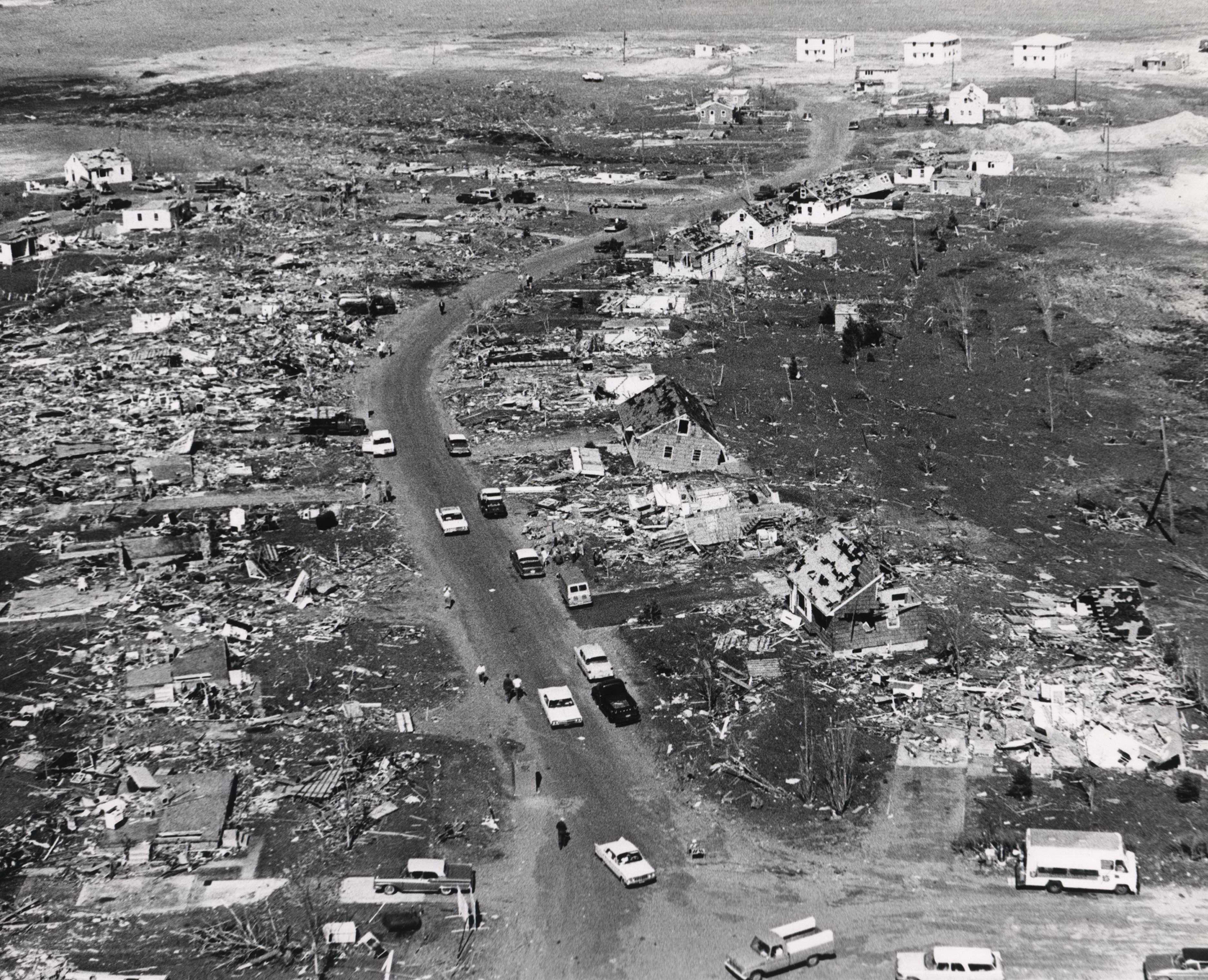 Destruction left behind in Fridley from the 1965 tornado outbreak in the Twin Cities.
