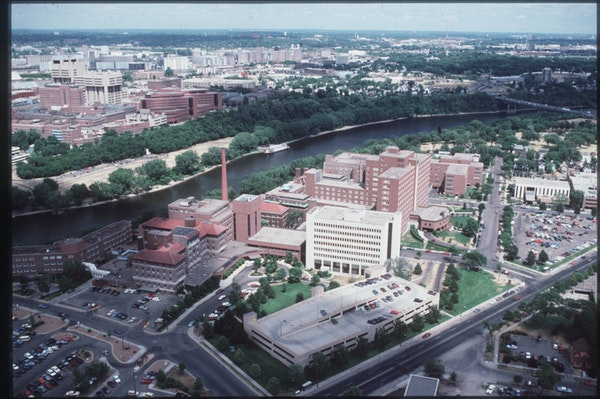 Fairview Riverside Medical Center in the foreground.