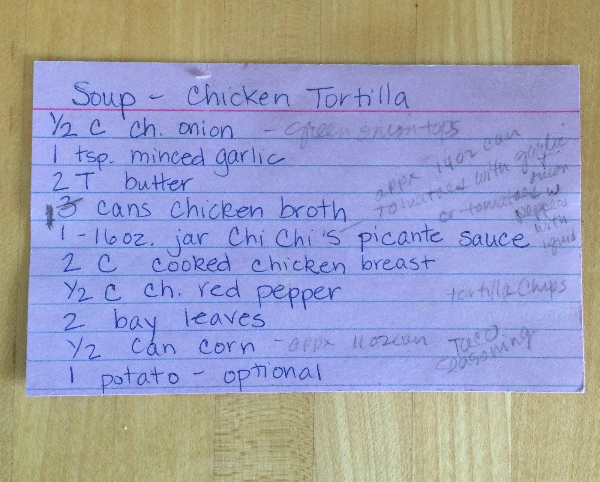 Recipe found in a book.