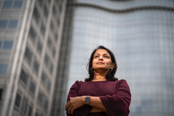 """Dr. Priya Sampathkumar outside Mayo Clinic in Rochester. She has been immersing herself in efforts to assist, """"but the need is so enormous."""""""