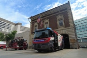Rosenbauer America in Wyoming, Minn., has developed an electric fire truck, which it showed to backers in Washington, D.C.
