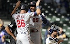 Max Kepler greeted Byron Buxton at home plate after a Buxton home run earlier this season.