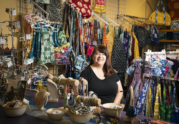 Kristin Doherty sat among textiles, clothing, jewelry and more made by women in Ghana through her nonprofit Global Mamas in Minneapolis.