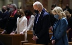 Joe and Jill Biden attend mass at the Cathedral of St. Matthew the Apostle during Inauguration Day ceremonies in Washington, D.C., on Jan. 20.