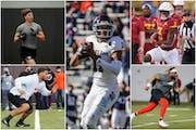 Clockwise from upper left: Central Missouri's Zach Davidson; Texas A&M's Kellen Mond; Iowa State's Kene Nwangwu; Ohio State's Wyatt Davis; Vir