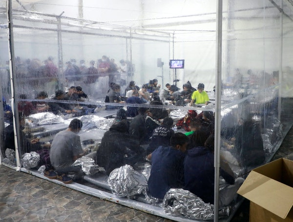 A temporary immigration processing facility in Donna, Texas, was photographed on March 17. The Mexican border has been overwhelmed by unaccompanied mi