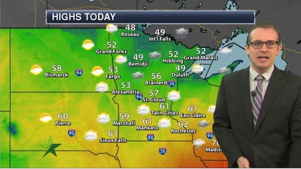 Morning forecast: Decreasing clouds, cooler; high 61