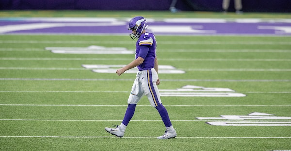 Minnesota Vikings quarterback Kirk Cousins made his way off the field after one of his three interceptions last season vs. the Falcons.