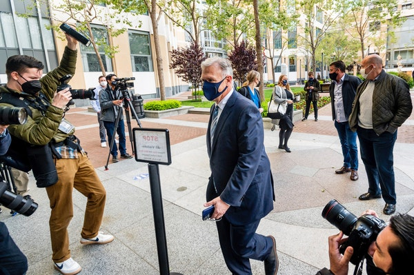 Phil Schiller, an Apple executive, enters the Ronald V. Dellums building in Oakland, Calif., on Monday, May 3, 2021, to attend a federal court case br
