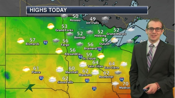 Afternoon forecast: Mostly cloudy, cooler; high 64