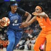 Lynx center Sylvia Fowles (left) is the WNBA defensive player of the year. Jonquel Jones of Connecticut was the unanimous choice as Player of the Year