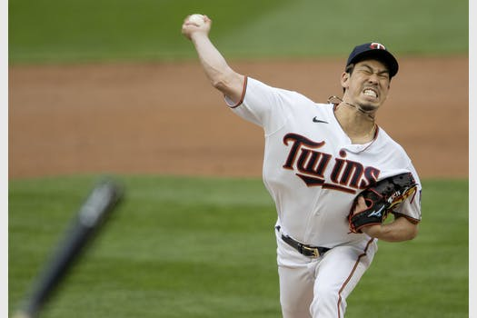 Minnesota Twins starting pitcher Kenta Maeda (18) in the second inning.
