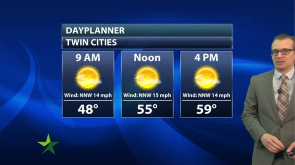 Morning forecast: Mostly sunny, cooler; high 59