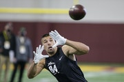 Minnesota Mankato tight end Shane Zylstra makes a catch during Minnesota's pro day in April.