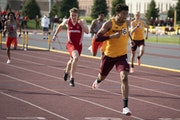Photos by RENÉE JONES SCHNEIDER • Renee.jones@startribune.com Dashing figure: Noah Burton (top) ran the 400-meter hurdles at the M City Classic las