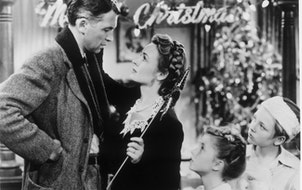 "Jimmy Stewart and Donna Reed in ""It's a Wonderful Life."""