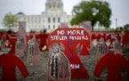An art installation by Artists C3 stood on the Minnesota Capitol lawn to represent and honor the Missing and Murdered Indigenous Women and Girls Aware