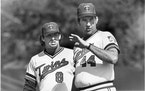 Gary Gaetti (at left) and Ray Miller in the days when Gaetti was a central fixture of the Twins, and Miller was in his brief tenure as manager.