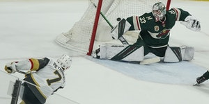Vegas defenseman Alex Pietrangelo shot and scored the game-winner in overtime on Wild goaltender Cam Talbot.