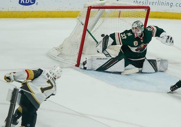 Vegas defenseman Alex Pietrangelo shot and scored the game-winner in overtime on Wild goaltender Cam Talbot.