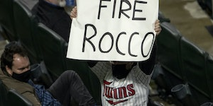 A fan in the stands held up a 'Fire Rocco' sign during Wednesday night's loss, referring to Twins manager Rocco Baldelli