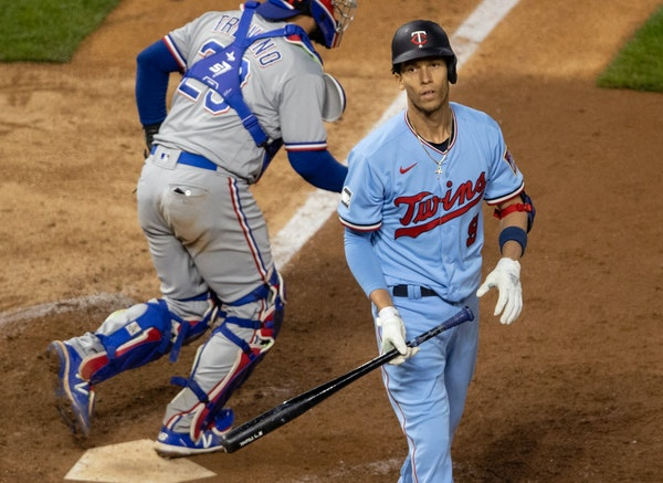 Twins shortstop Andrelton Simmons struck out in the ninth inning to end the game.