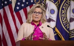 Rep. Liz Cheney, R-Wyo., speaks during a news conference at the Capitol on July 21, 2020, in Washington, D.C.