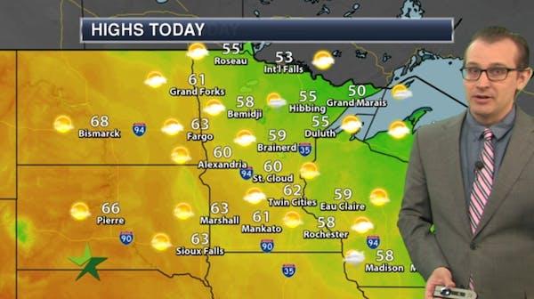Morning forecast: Frosty start, high 62
