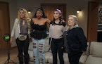 "GIRLS5EVA -- ""Alf Musik"" Episode 103 -- Pictured: (l-r) Busy Philipps as Summer, Renée Elise Goldsberry as Wickie, Sara Bareilles as Dawn, Paula"