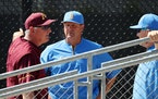 Gophers baseball coach John Anderson talked to UCLA coaches during the 2018 NCAA tournament.