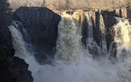 The High Falls of the Pigeon River straddle the U.S. and Canada.
