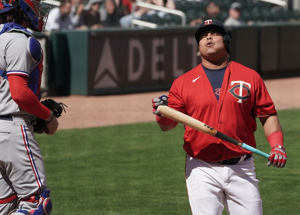 The Twins on Thursday couldn't find their bats when they needed them most. Willians Astudillo reacts after striking out in the 10th inning.