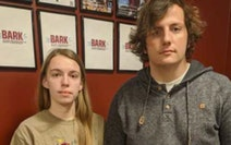 Heidi Stang, editor-in-chief and Michael King, a managing editor of the University of Minnesota Duluth's student newspaper, The Bark, pose in its of