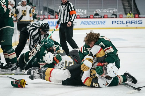 Fighting mad teammates defend Kaprizov, who doesn't back down during brawl