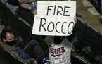 A fan in the stands held up a Fire Rocco sign referring to Minnesota Twins manager Rocco Baldelli in the stands.