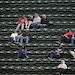 Twins fans were scattered among zip-tied seats during Thursday's game against Texas at target Field.