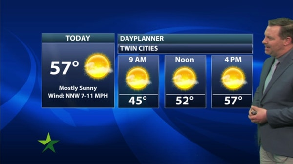 Morning forecast: Sunny, cool; high 57